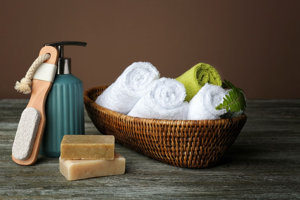 Image result for towels and soap in basket